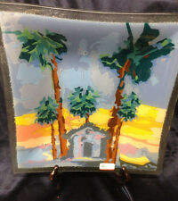 """PEGGY KARR FUSED GLASS SQUARE BOWL PLATE 12 1/4"""" PALM TREES BEACH SUPERVALU 2009"""