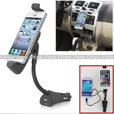 For iPhone In Car Cigarette Lighter Mount Holder Cradle USB Charger Adapter CF