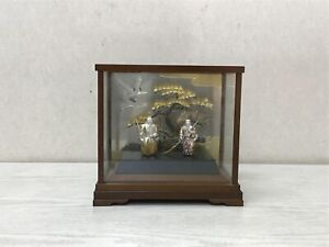 Y2679 OKIMONO Sterling Silver Takasago Noh figure glass case Japan antique decor