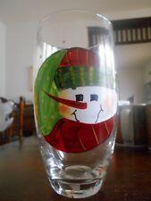 Snowmen Portraits Highball Tumbler (s) 16 oz. Fiddlestix Glass Green White Red !