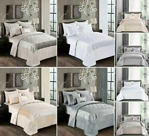 Bedspread Atlanta  Velvet Quilted Bedding Set Sequins Design With Pillow Shams