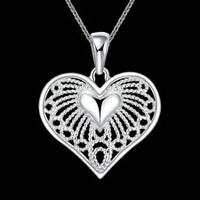 Filigree Heart Pendant Necklace N443 925 Hallmark Sterling Silver Filled