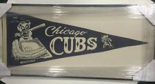 "Chicago Cubs Vintage Pennant Wrigley Field Mascot Blue White 28"" Baseball Framed"