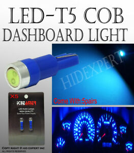 10 pcs LED COB T5 Blue Ash Tray Dashboard Gauge Direct Plugin Light Bulbs S124