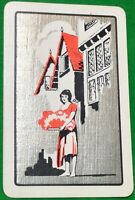 Playing Cards 1 Single Swap Card - Old Vintage ENGLISH TOWN FLOWER SELLER GIRL