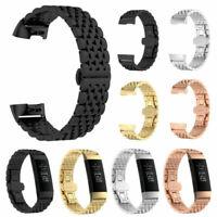 Für Fitbit Charge 3 Luxus Edelstahl Armband Uhrenarmbänder Ersatz Band Uhr Strap