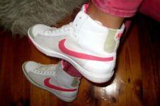 Womens Kids Girls nike Blazer Mid retro GS gr:35, 5 cortos 325060-101 White-Pink