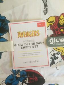 POTTERY BARN KIDS Glow in the Dark Avengers FULL Cotton 4 pc Sheets Set NEW