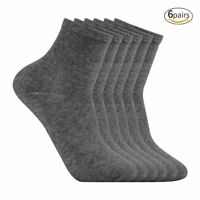 Lot 6 Pairs Pack High Ankle Quarter Crew Sports Dress Socks Cotton Size 9-11