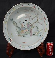 42cm Large Antique Chinese Porcelain Bowl Basin Beautiful Women in Garden Qing