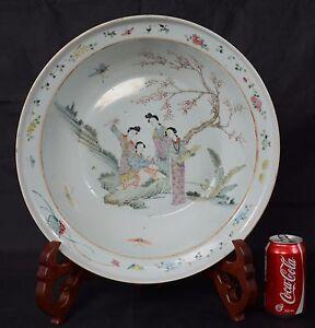 Chinese Porcelain Bowl Basin Beautiful Women in Garden Qing 42cm Large Antique