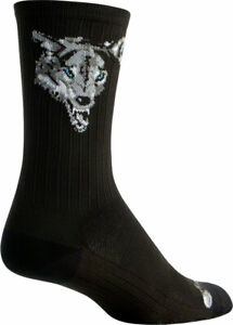 SockGuy SGX Wolf Socks 6 inch Black Compression Large X-Large Unisex Synthetic
