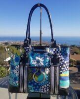 EUC Isabella Fiore Multi Colored Canvas & Leather Handbag, Shoulder Bag, Tote