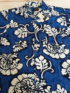 NEW WITH TAG~LOWES HAWAIIAN PARTY SHIRT~BLUE & WHITE~SIZE M