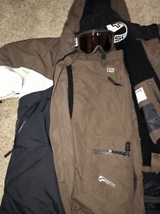 Men's Snowboard Ski Outdoor Freeworld lined Hooded Coat Outfit And Scott Goggles