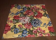 One Pottery Barn Pillow Sham Red Yellow Blue Floral Linen Blend  24 X 24 New