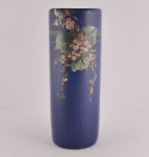 "Weller Blue Decorated Round Vase Embossed Floral Design (8 1/2"" Tall)"