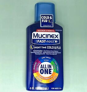 Mucinex Fast-Max Medicine Night Time Cold Cough & Flu All In One 6 oz Exp 03/21