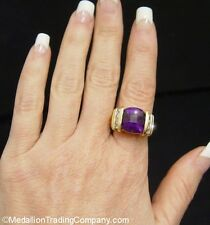 BOLD!10 Ct 14k Square Checkerboard Cushion Siberian Amethyst White Sapphire Ring
