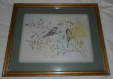 Vintage Rare Birds & Flowers-M. Daumer-Signed/Matted/Framed-17.5 X 21.5""