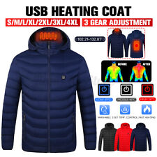 Women Men's Electric Heated Hooded Jacket Coat Infrared Heating Long Sleeve Warm