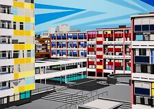 Golden Lane Est Modernist Architecture Pop Art Limited Edition Signed Art Prints