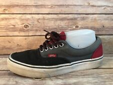VANS Men 8 Wmn 9.5 Distressed Grey Black Red Canvas  Lace Up Sneakers Shoes