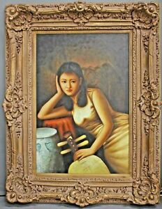 """FINE VINTAGE CHINESE SCHOLAR Asian Woman Oil Painting w/ Elaborate Frame  51"""""""