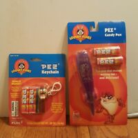 Vintage Looney Tunes TAZ Pez Candy Dispenser Pen & Keychain 1999 Sealed Lot