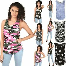 Womens Ladies Sleeveless Floral Racer Back Muscle Sports Gym Vest Tee Top 8-26