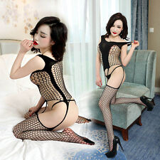 Women Sexy Fishnet Body Stocking Lingerie Clothing Open Crotch Suit Hotly Hot