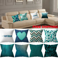 Geometric Print 45x45cm Cushion Cover Teal Green Blue Bed Sofa Pillow Cover Case