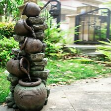 """Outdoor 5-Tier Pots Waterfall Fountain with LED Light for Patio Yard Garden 39""""H"""