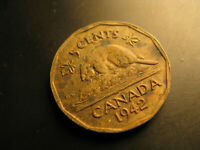 Canada 1942 Tombac  5 Cent Coin.