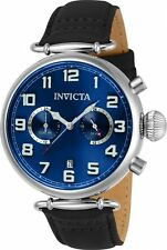 Invicta Men's Aviator Quartz Chrono Stainless Steel Black Leather Watch 22979