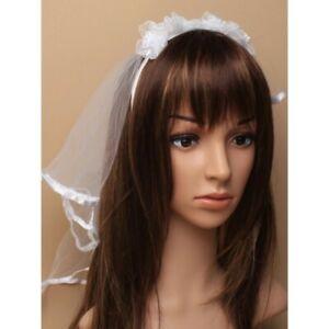 WHITE BRIDE rosebud head band with veil FANCY DRESS KIDS/ladies hen do