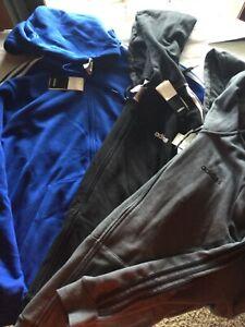 Adidas Hooded Full Zip Sweatshirt Gray Black Blue Men New Tag Cotton Polyester