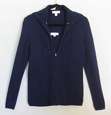 ST JOHN SPORT 2PC 100% Cashmere Navy Hooded Twin Sweater Set P