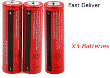 3x 18650 3.7v Rechargeable Battery Batteries 6800 mAh Flashlight Headlamp Laser