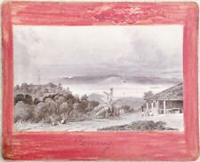AUTHENTIC ANTIQUE ALBUMEN 1800s PHOTOGRAPH PHOTO PENANG ISLAND TOWN IMAGE