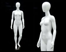 Adult Female Egg Head Fiberglass Glossy White Mannequin with Metal Base Included