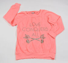 CHARLOTTE RUSSE WOMENS SIZE M MEDIUM SWEATSHIRT LOVE CONQUERS ALL CORAL COLOR