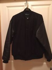 MERCEDES BENZ Men's Size Large Bomber Jacket Coat Black Wool Leather Combo
