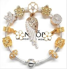Authentic Pandora Silver Charm Bangle Bracelet Gold Angel Wing European Charms..