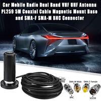 VHF/UHF Dual Band Antenna Vehicle Car Mobile Radio +Magnetic Mount Base 5M