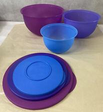 Set Of 3 Nesting Pastel Tupperware Bowls W/ Lids 3093B-1, 3091B-2, 3095B-1