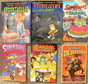 6 The Simpsons Comics (Approximately 115 - 140 pages per comics) - (2829)