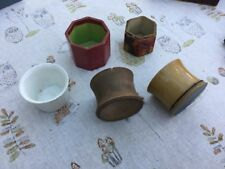 Antique or vintage game. Collection of Five Tiddlywinks pots various materials.