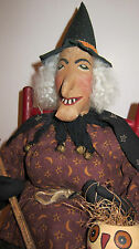 VINTAGE PRIMITIVE FOLK ART  HALLOWEEN WITCH DOLL by Sylvia Carlson.   AWESOME!