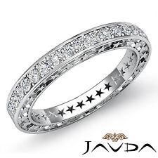 Round Pave Diamond Star Eternity Wedding Ring 18k White Gold Womens Band 0.45Ct